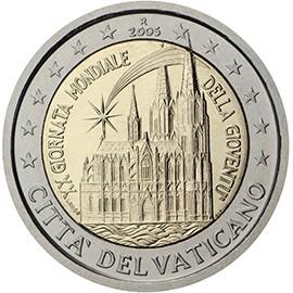 moeda de 2 euros cidade do vaticano 2005