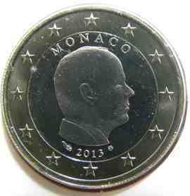 moeda de 1 euro monaco 2013