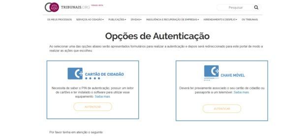 opções de autenticação