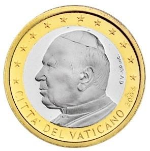 moeda de 1 euro vaticano 2004